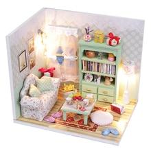 Diy Miniature Wooden Doll House Furniture Kits Toys Handmade Craft Miniature Model Kit DollHouse Toys Gift For Children M012