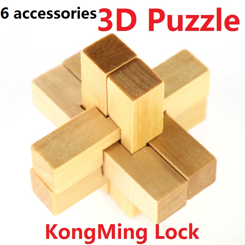 Hot Sale Vintage KongMing Lock 3D Puzzle YX835 Wooden Brain Teaser Puzzle Game Toys 6 Accessories Luban Lock Free Shipping