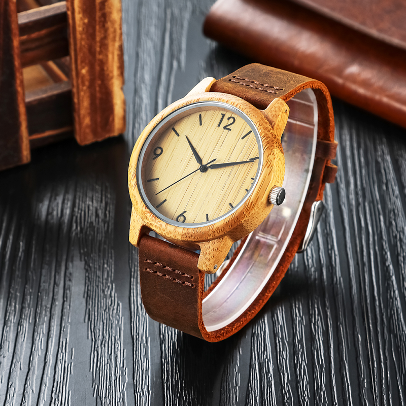 Hot Sale2017 Wooden Wrist Watch Bamboo Case Genuine Leather Strap For Men Women Clock Japan Quartz Couple Watches With Gift Box коврики в салон jeep grand cherokee 01 2006 2011 4 шт полиуретан