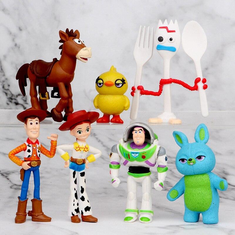 7PCS Set Toy Story 4 Action Figure Woody Jessie Buzz Lightyear Forky Pig Bear Figura Model Doll Toy Story Figurine Decoration