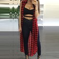 Summer Ladies Sleeveless Loose Split Shirts 2016 Casual Blusas Tops Plaid Printed Women Long Style Cardigan Plus Size S-2XL