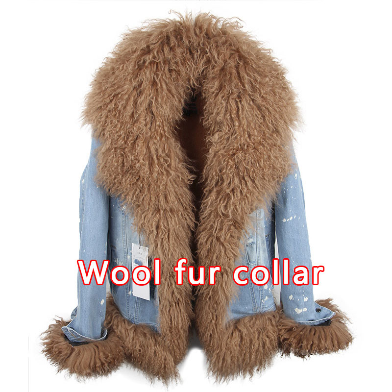 Fourrure De 3 Marque Mouton Color 1 Veste Manteau Mongolie Survêtement Épais Denim color Parka 2 5 Chaud Luxe color Hiver Top 2018 color color color Réel 4 Femmes 6 wBEat