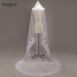 Lace Edge 3 Meter Ivory White Luxury Cathedral Wedding Veil Hot Sale Wedding Accessories Long Bridal Veils velos de novia