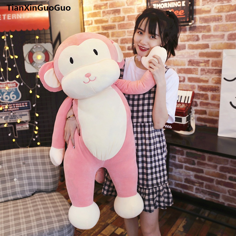 large 100cm cute pink monkey plush toy creative pillow down cotton soft throw pillow birthday gift s0641 2543 carrot shaped pp cotton plush throw pillow orange 40cm length