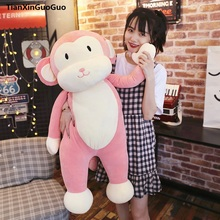 large 100cm cute pink monkey plush toy creative pillow down cotton soft throw pillow birthday gift s0641