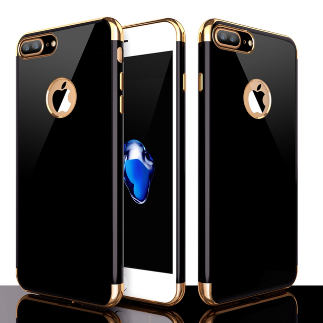 8f657965eff Funda trasera suave de silicona Ultra fina brillante Original Jet Black  para iPhone 7 Plus iPhone