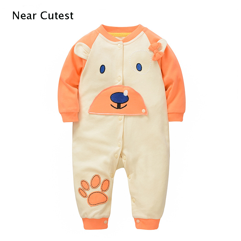 Near Cutest Baby Clothing Pajamas Newborn Baby Rompers Cotton Long-Sleeved Overalls Boys Girls Spring Autumn Bebes Clothes