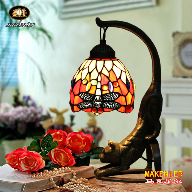 Makenier Vintage Tiffany Style Stained Glass Red Dragonfly Table Lamp With  Cat Base, 6 Inches