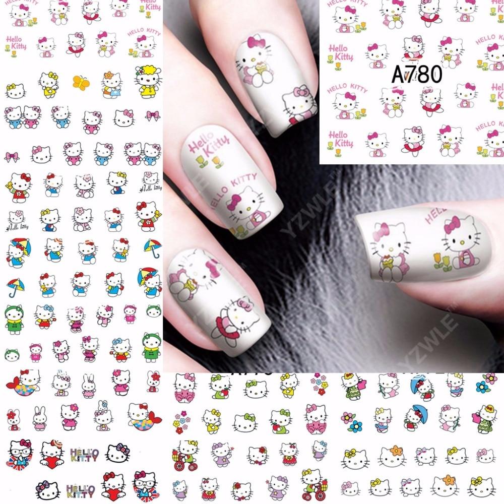 2018 в виде бабочек, новинка, 12 лист для ногтей, переводятся с помощью воды Стикеры наклейки Красота мультфильм Cat Дизайн ногтей украшения мани...