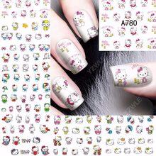 Calcomanías de Arte de uñas, 12 láminas de transferencia al agua, diseño de gato, decoraciones y utensilios de manicura DIY, A780, novedad de 2018