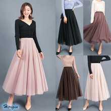 Summer Women Casual Mesh Skirts 2019 new Tulle Elastic High Waist Long