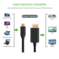 USB3.1 Type-C to DisplayPort Cable 4K@60Hz USB-C to DP for New Macbook Samsung S8 ChromeBook G9500 4