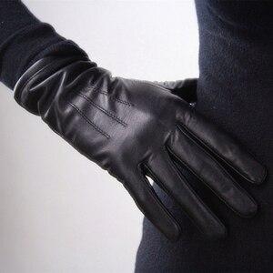Image 2 - Womens Genuine Leather Gloves Black Sheepskin Finger Driving Gloves Spring Autumn Thin Velvet Lined Warm Fashion Mittens TB13