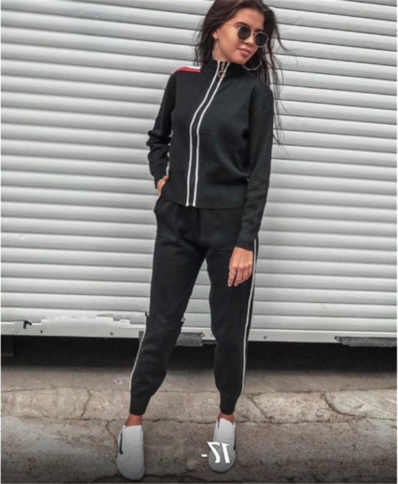 Pantalon Femmes Et noir 2 marron Tricot Le Temps Zip Mode Casual Deux gris Army Plein Roulé Green 2018 kaki Pièce Éclair De Ensemble Cardigan Limitée Haut Col Dans Fermeture O1wPqzBx