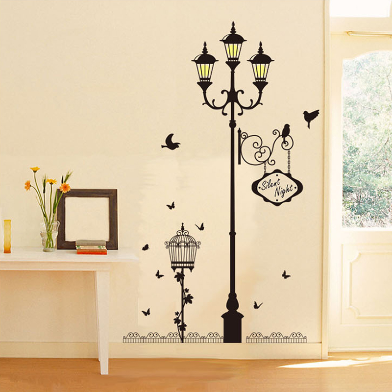 New Birdcage Light Lamp Post Night Lights Wallpaper Wall Stickers Diy  Removable Pvc Home Decor Vinyl Decoration For Living Room  In Wall Stickers  From Home ...