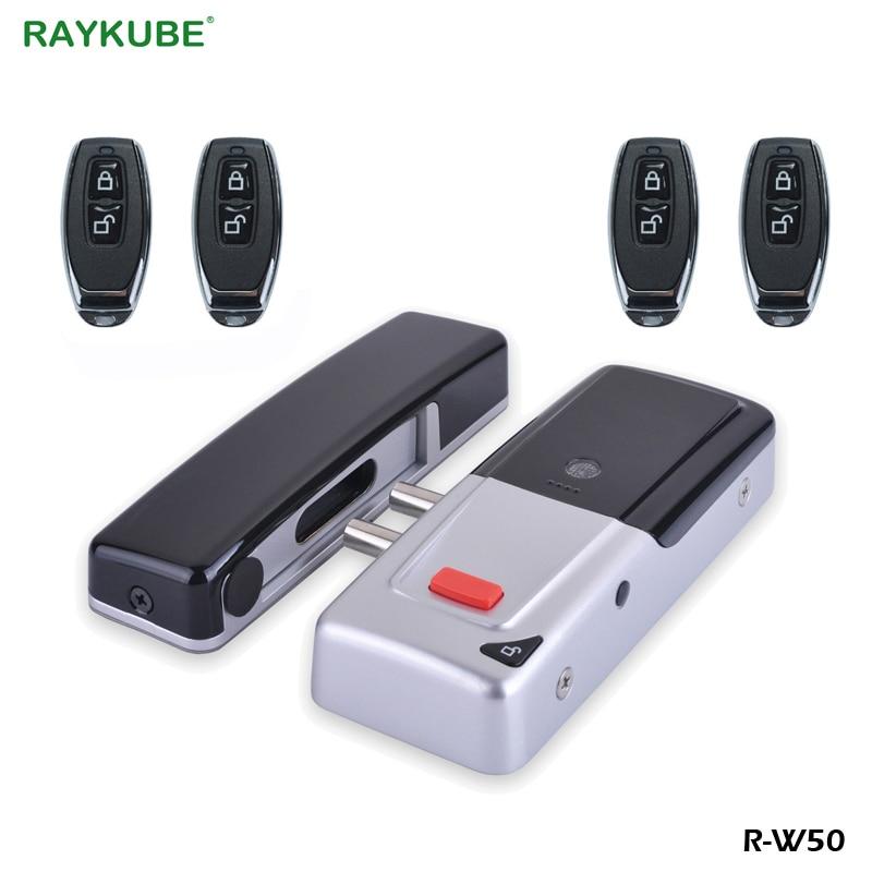 RAYKUBE Electronic Door Lock Keyless With Wireless Remote Control Keys Invisible Remotly Door Lock For Home Door Security remote control wireless networked hotel door lock with door magnetic l180