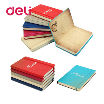 Deli 1pcs notepad A5 leather business notebook portable simple color book student stationery thickening functional notebook creative simple a5 small fresh thick cat color page notebook student hand book soft leather notepad
