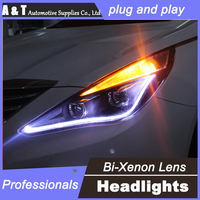 Car Styling For Hyundai Sonata 8 Headlights U Angel Eyes DRL 2011 2014 For Sonata 8