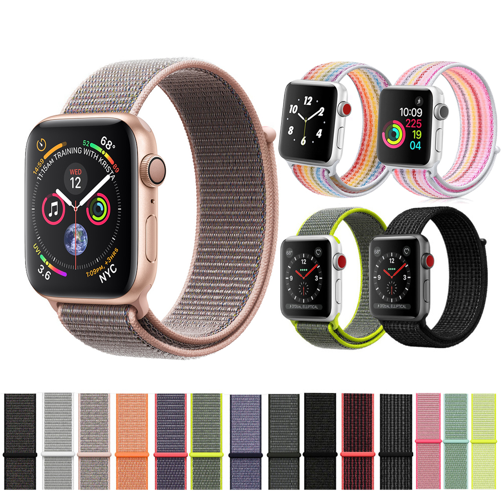 CRESTATO di nylon di sport loop strap Per Apple Watch band 42mm/38mm 44mm/40mm iWatch 4/3/2/1 del braccialetto cinturino da polso accessori