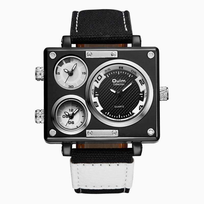 Luxury Brand Man Oulm Watch men Quartz-Watch Clock Male Multiple Time Zones Square Sports Watches montre homme