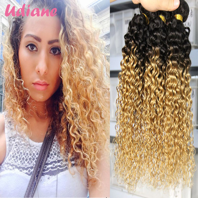 Ombre Blonde Curly Hair Extensions 3 Bundles Indian Ombre Human Hair