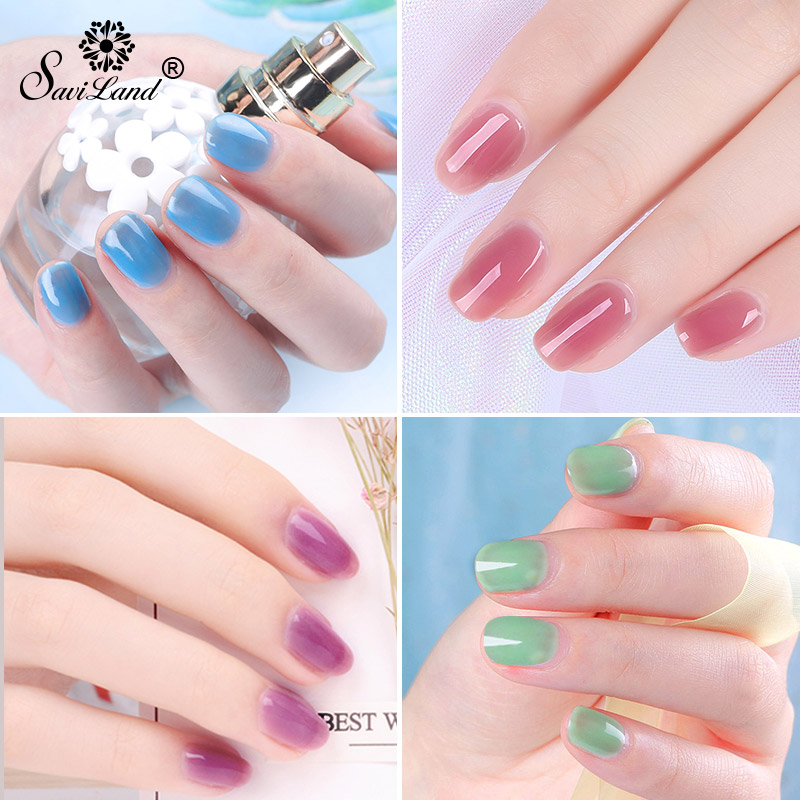 Saviland Semi Transparent Opal Jelly Gel Nail Polish Soak Off Gel