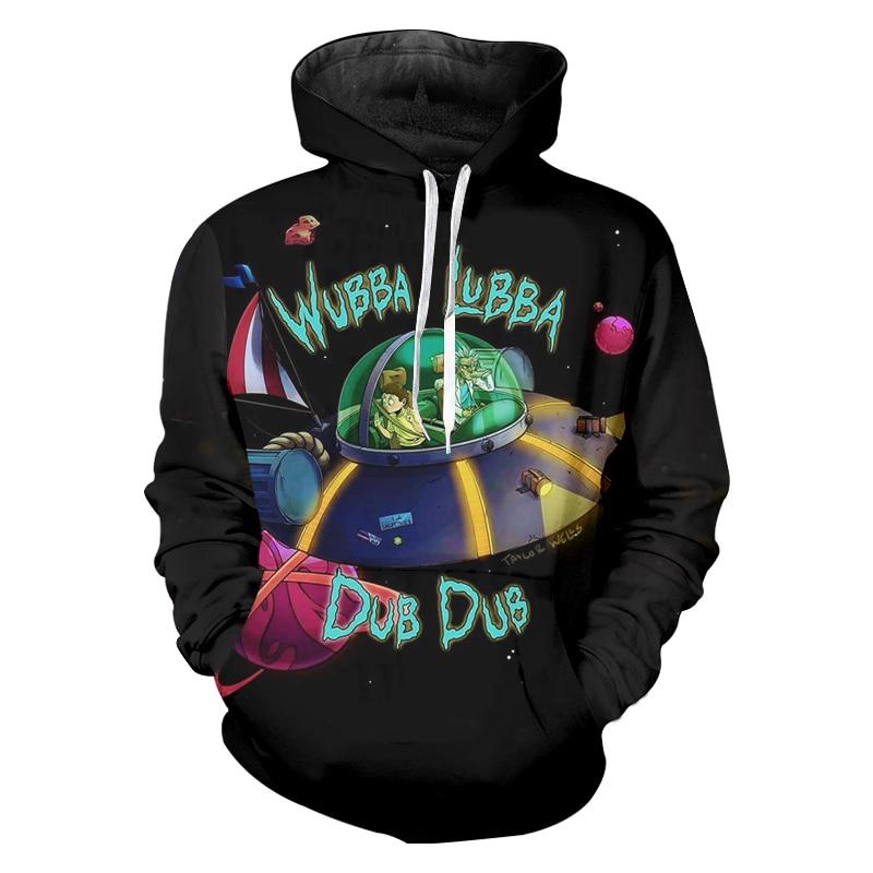 Black Hoodies 2018 Harajuku Men Long Sleeve Hooded Pullover Print Anime Rick And Morty 3D Sweatshirts Casual Pocket Sweats