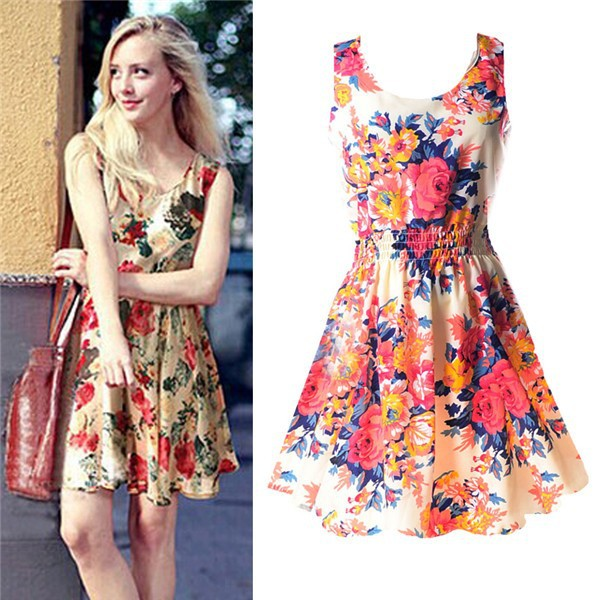 Casual Summer Chiffon Dress Women Clothes 19 Sexy Floral Short Beach Dresses Korean Elegant Vestido De Festa Verano Robe Femme 6