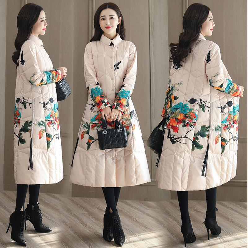 Cotton Made winter Chinese style female knee Length Trench Coat folk style cotton padded Warm jacket Traditional stamp tide Wear