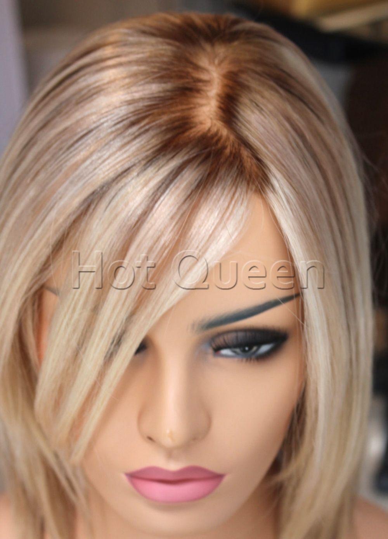 Cheap Short Brazilian Bob Style Blonde Ombre Lace Front Human Hair