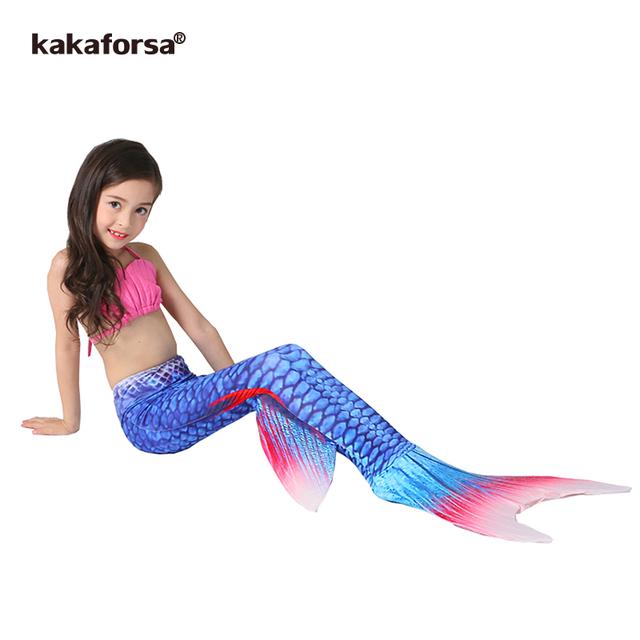 Kakaforsa New 3PCS Kids Girls Mermaid Tail Bikini Set Cute Swimming Suit Lovely Princess Children Baby Mermaid Swimsuit Swimwear