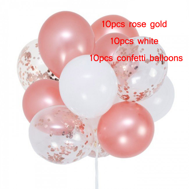 30pcs lot3 2g rose gold confetti black White latex balloons Air ball Helium ballon baby Shower Kids Birthday Wedding Party Decor in Ballons Accessories from Home Garden