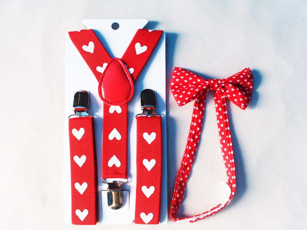 Free Shipping 2018 New Fashion Kids Children Girls Red Heart Print Bow Ties And Suspenders Braces Sets For Boys