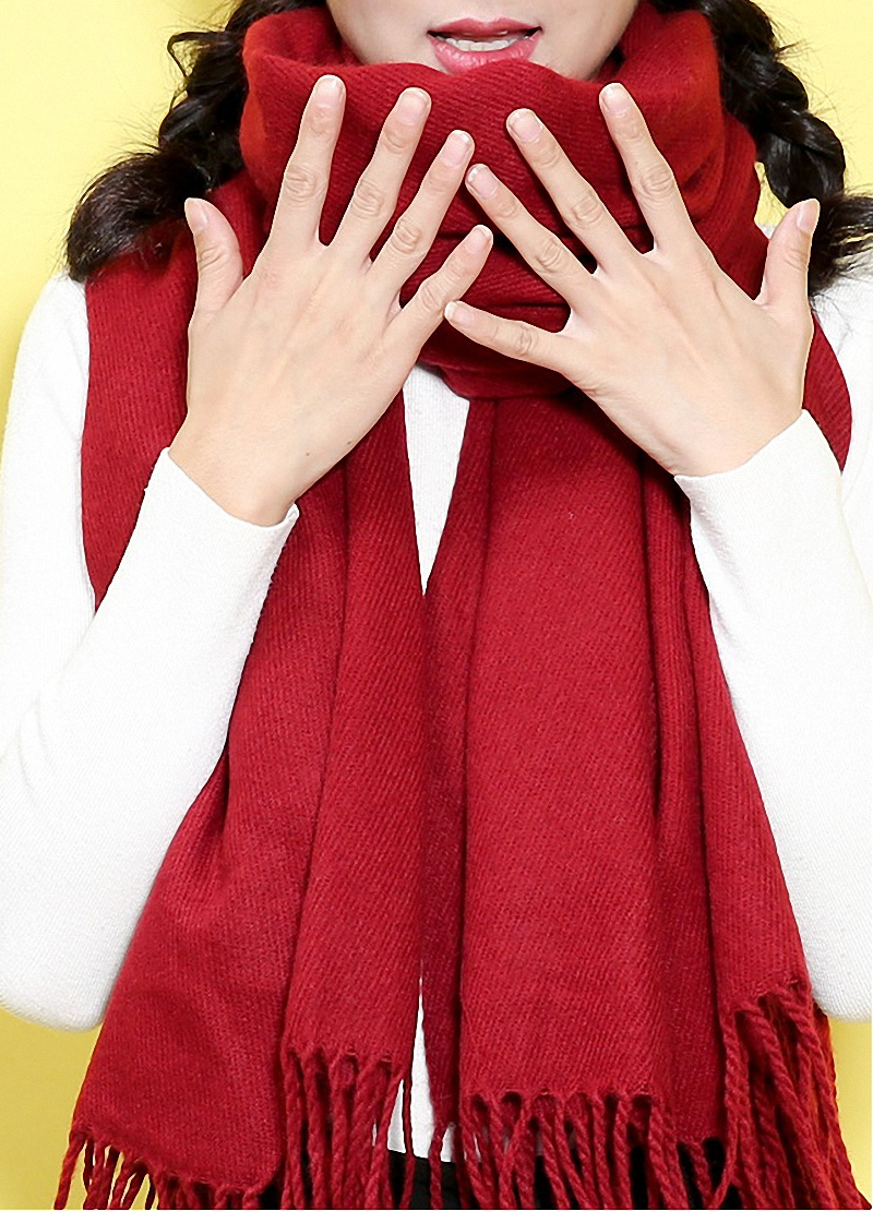 High Quality Solid   Scarf   Women Fashion Warm   Scarves   Winter   Scarf     Wrap   Shawl Blanket   Scarf   Luxury Brand S002-wine red