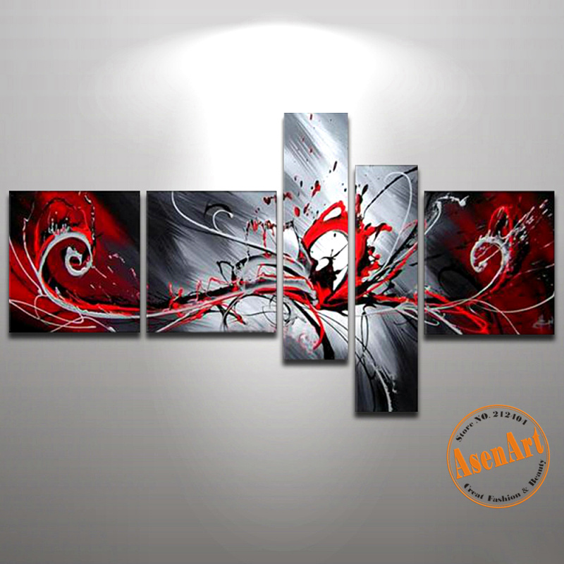 Handmade Modern Abstract Oil Painting On Canvas 5 Piece