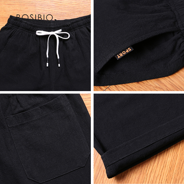 Mens Summer Cotton Solid Casual Shorts Elastic Waist Top Quality 4