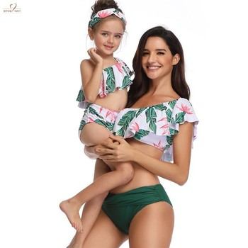 Free Shipping Kid Stylish Baby Girls Ruffles 2pc Separated Swimsuit beachwear Mom Lady One Shoudler Jungle Print Bikini Set