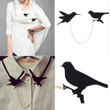 Vintage Double Black Birds Collar Brooches For Women Retro Clothes Scarf Jewelry