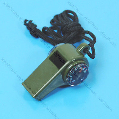 3 In 1 Whistle Compass Thermometer Hiking Camping New mini kompas sleutelhanger