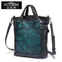 Vintage Handmade Leather Handbags Cowhide Women Shoulder Bag Weave Handle Casual Tote Fold Design