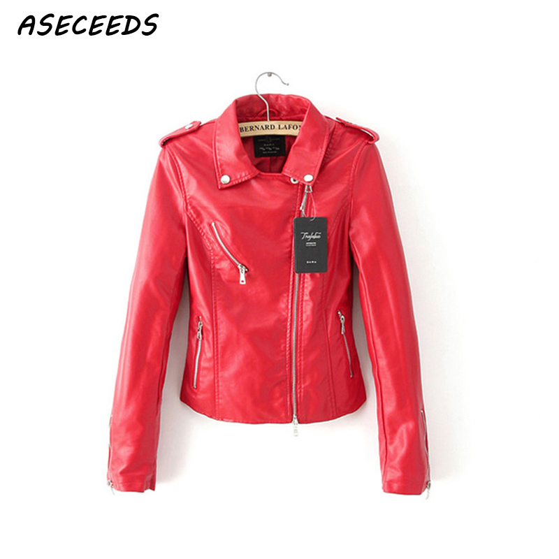 2017 Winter Coat Women Motorcycle Faux PU   Leather   Jacket Women Zipper Red Black Rivet Casual Biker Jacket high street Outerwear