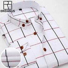 2020 뉴 옥스포드 격자 무늬 캐주얼 남성 셔츠 슬림 피트 공식 및 비즈니스 직업 남성 셔츠 봄 긴 소매 남자 드레스 셔츠