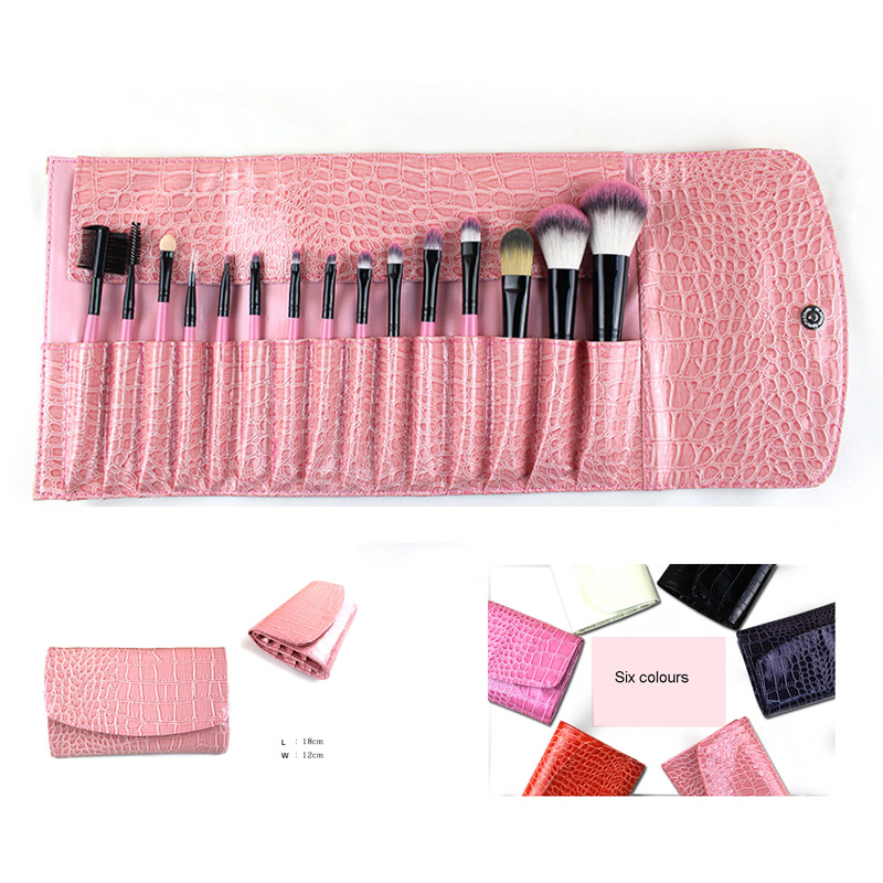 15pcs Professional Makeup Brush Set Large Foundation Eyebrow Shadow Powder Brush crocodile case Kabuki Cosmetic Make Up Brushes professional bullet style cosmetic make up foundation soft brush golden white