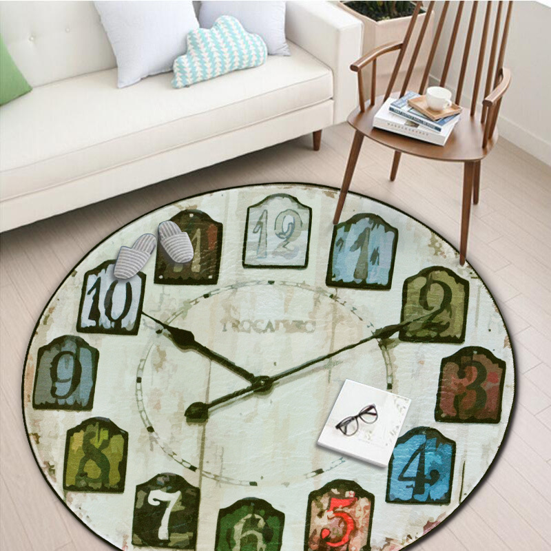 Round Retro Wall Clock Carpet Coffee Table/ Computer Chair Under The Mat European and American Style Floor Carpet Non-slip Mats