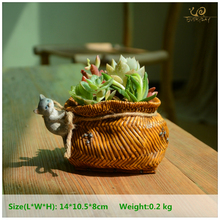Everyday Collection Cat pull bamboo basket Home Decoration Accessories &fairy garden decoration & flower Pots decorated