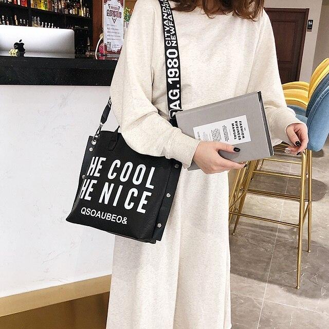 d0c2f34320c Fashion Handbag Women Letter Soft Messenger Female Shoulder Bags Large  Shopping Tote Lady Crossbody Bag Purse