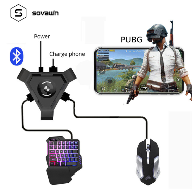 Sovawin Pubg Mobile Gamepad Controller Gaming Keyboard Mouse Converter untuk Ponsel Android untuk PC Bluetooth Adaptor Steker dan Bermain