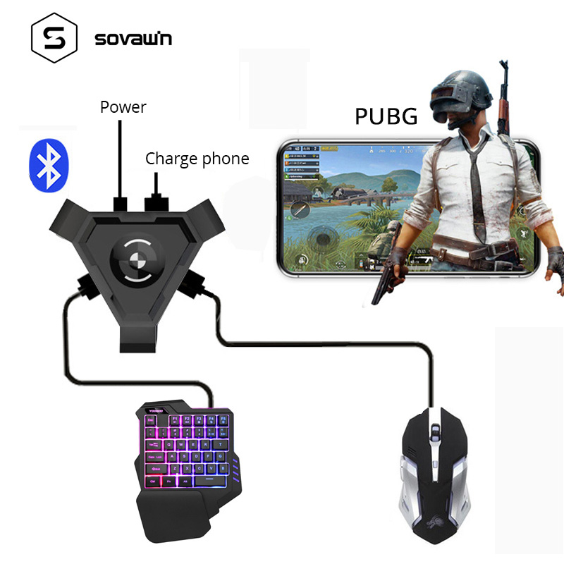 Sovawin PUBG Mobile Gamepad Controller Gaming Keyboard Mouse Converter For Android Phone to PC Bluetooth Adapter Plug and Play
