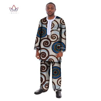 Fashion Dashiki African Wax Print Mens Shirt and Trousers Sets for Men Plus Size 6XL 2 Pieces Sets Mens African Clothing WYN17