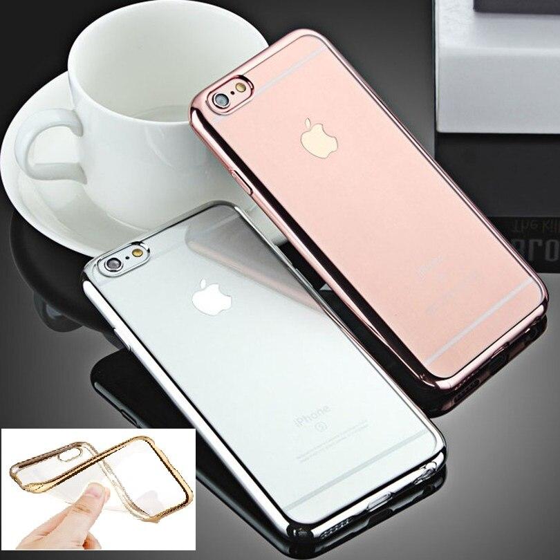 Мягкий чехол для Apple iPhone 6 6s 6 Plus ультра тонкий Fundas розовое золото Покрытие Crystal Clear назад кожи coque Карамельный цвет крышка